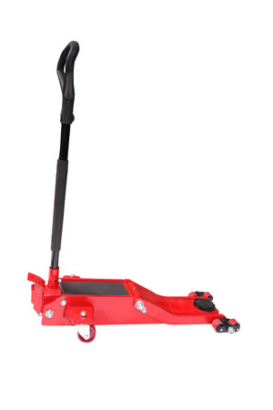 lifting jack: Image of a car repair  lifting jack isolated under the white background Stock Photo