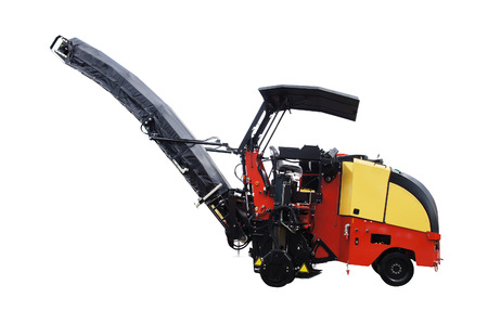 asphalt spreading machine under the white background photo