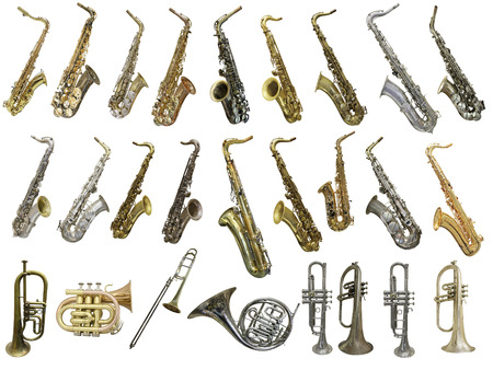 The image of different kinds of wind instruments Stock Photo