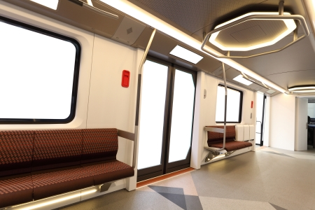 Interior of a modern metro carriage photo