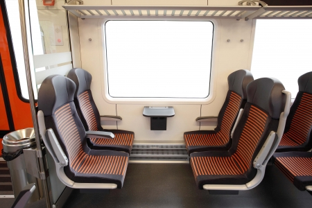 Interior of a modern commuter train photo