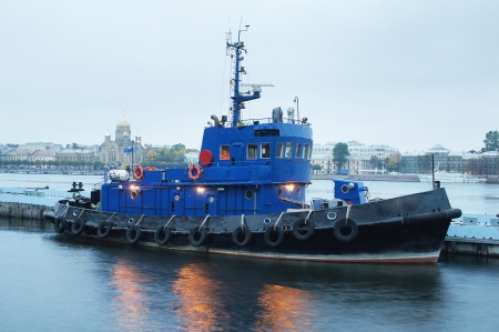 sidelight: The image of a towboat Stock Photo