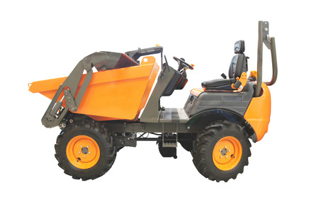 wheeled tractor: small wheeled tractor under the white background