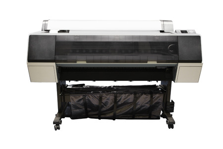 Digital printing machine under the white background photo