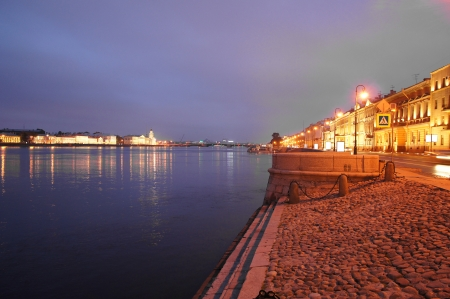 st petersburg: Night embankment of Neva river, St. Petersburg, Russia Stock Photo