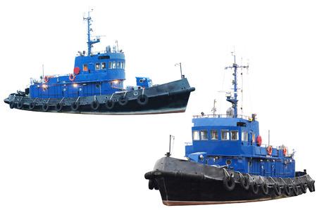 sidelight: towboat isolated under the white  Stock Photo