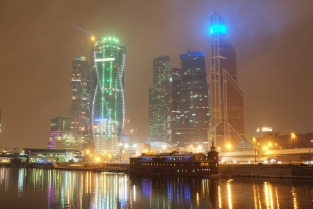Night cityscape with the image of Moscow City Stock Photo