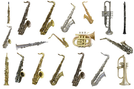 aerophone: The image of wind instruments isolated under a white background Stock Photo
