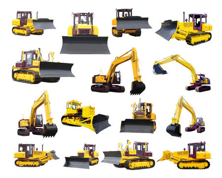 The image of bulldozers and excavators under the white background