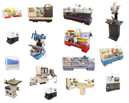 automated tooling: The image of lathes under the white background