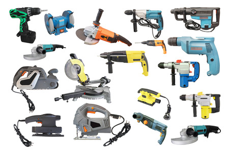 electric tools: Tools under the white background Stock Photo