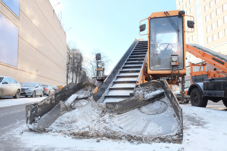 snow removal machine isolated under the white  photo