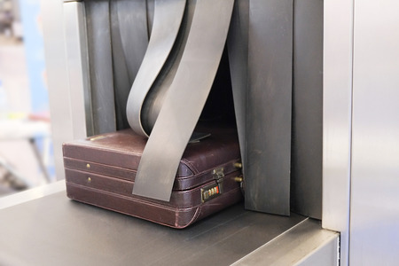 work belt: the image of a Baggage on conveyor belt