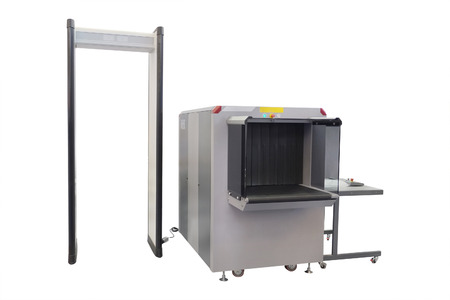 metal detector: conveyor belt and metal detector under the white background