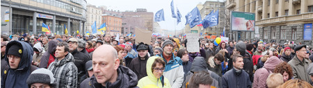 condemnation: MOSCOW - MARCH 15: Panorama of protest manifestation of muscovites against war in Ukraine and Russias support of separatism in the Crimea, Circular Boulevards in Moscow, Russia on March, 15, 2014.