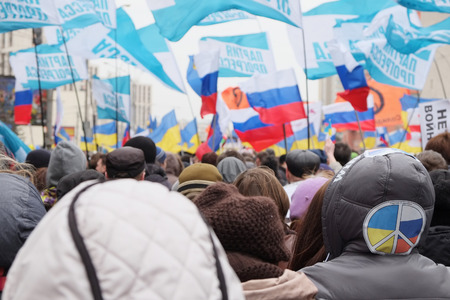 tine: MOSCOW - MARCH 15: Protest manifestation of muscovites against war in Ukraine and Russias support of separatism in the Crimea, Circular Boulevards in Moscow, Russia on March, 15, 2014. It was not the only manifestation in Moscow that day. Just that tine
