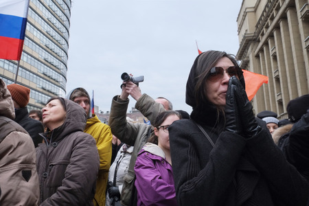 separatism: MOSCOW - MARCH 15: Protest manifestation of muscovites against war in Ukraine and Russias support of separatism in the Crimea, Circular Boulevards in Moscow, Russia on March, 15, 2014. It was not the only manifestation in Moscow that day. Just that tine