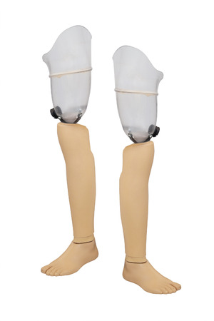 lame: artificial limb under the white background Stock Photo