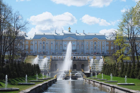 architectonics: the image of Grand Cascade Fountains At Peterhof Palace garden, St. Petersburg