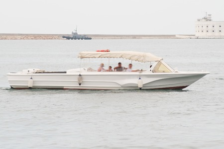 sidelight: motor boat on the sea