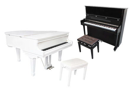 a grand piano: Grand piano isolated under the white background