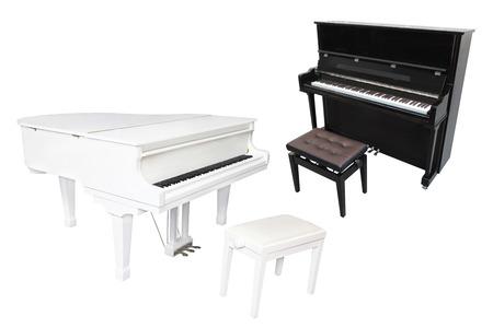 grand piano: Piano de cola aislado en el fondo blanco Foto de archivo