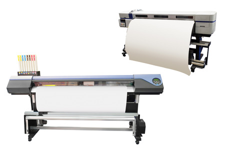 digital printing: Digital printing machine under the white background