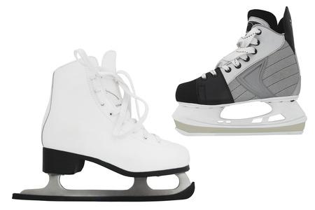 figure skate: Figura pat�n bajo el fondo blanco