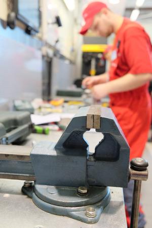 workbench: vice on a metal workbench