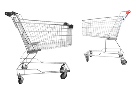 shoppings: Shopping trolley stands in the midl of asphalt ground