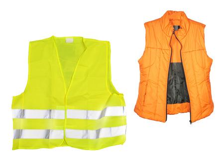 unbutton: The image of orange jacket under the white background