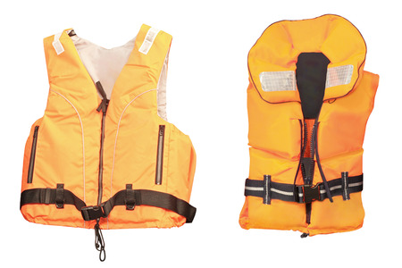 life jacket under the white background Stockfoto