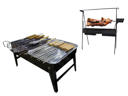 sucking-pig  grills on a spit Stock Photo