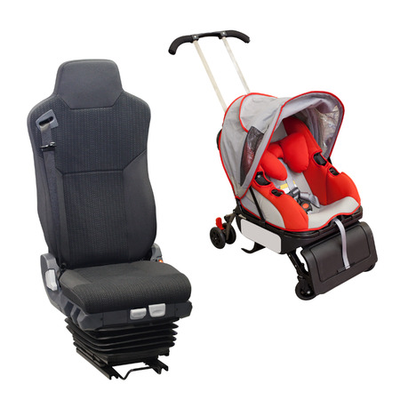 perambulator: Perambulator with car care chair Stock Photo
