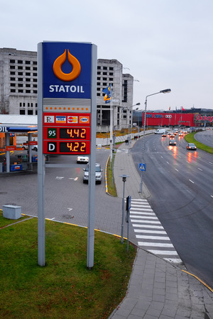 Kaunas, Lithuania, November, 17, 2014: Guide sign, indicated the price of the gas on Statoils gas station.  Statoil is the prevailing Lithianian brand