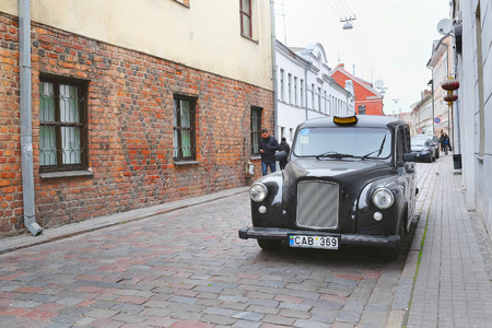 kaunas: Kaunas, Lithuanian - November, 17, 2014: cobble-stone of Kaunas old town, the area in which historical flavor of an old city is kept