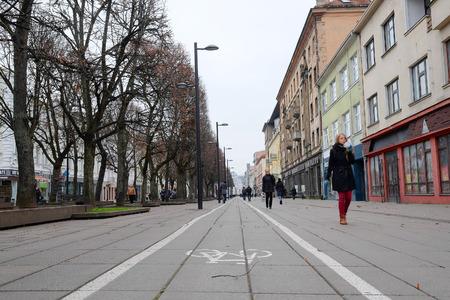 kaunas: Kaunas, Lithuanian - November, 17, 2014: bicycle path in Kaunas old town. Bicycle is very popular transport in Kaunas Editorial