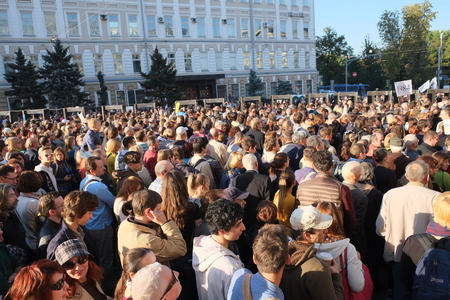 condemnation: MOSCOW - SEPTEMBER, 21: Protest manifestation of muscovites against war in Ukraine and Russias support of separatism in this country, Circular Boulevards in Moscow, Russia on September, 21, 2014.