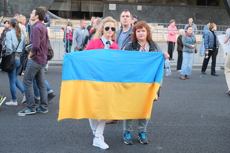 antiwar: MOSCOW - SEPTEMBER, 21: Protest manifestation of muscovites against war in Ukraine and Russias support of separatism in this country, Circular Boulevards in Moscow, Russia on September, 21, 2014.