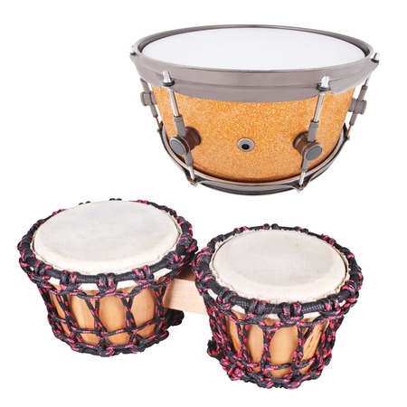 hand jamming: The image of ethnic african drum under the white background