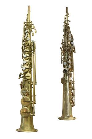clarinet: La imagen de un clarinete aislado bajo un blanco Foto de archivo