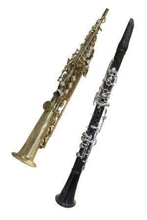clarinet: La imagen de un clarinete aislados, en un fondo blanco