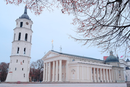sainthood: image of a VILNIUS,LITHUANIA, November 17, 2014: The Cathedral Square in Vilnius, Lithuania, Europe