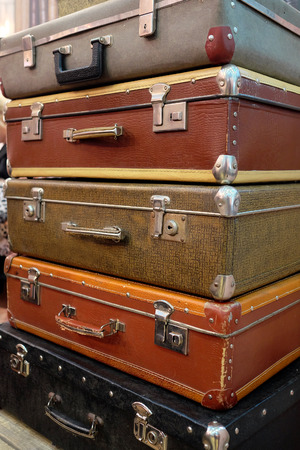 The image of retro style suitcases photo
