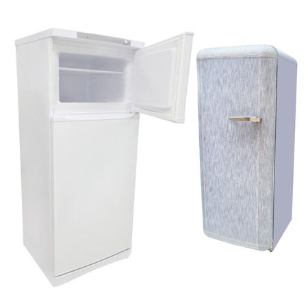 refrigerator: refrigerator under the white  Stock Photo