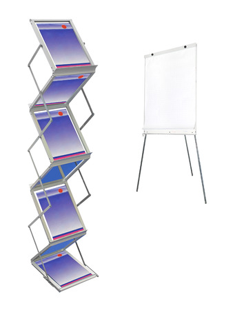 sheetrock: Stand with magazines under the white background