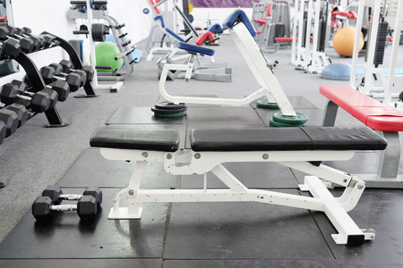 interior of gym with equipment photo