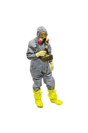 rescuer: rescuer in a protective suit isolated under the white background