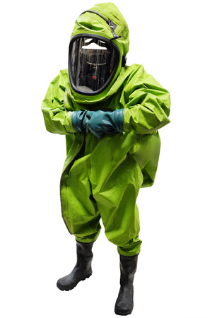 toxicology: rescuer in a protective suit isolated under the white background