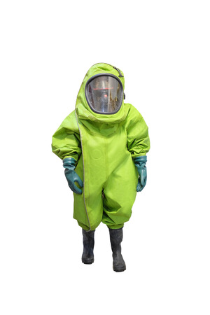 protective suit: rescuer in a protective suit isolated under the white background